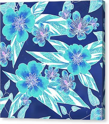 Turquoise Batik Tile 1- Camellia Canvas Print