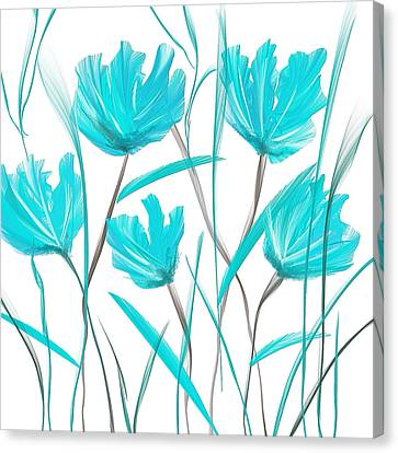 Turquoise Bloom Canvas Print by Lourry Legarde