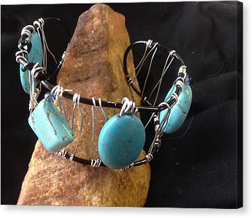Canvas Print featuring the jewelry Turquoise Cabochon Bracelet by J Cheyenne Howell