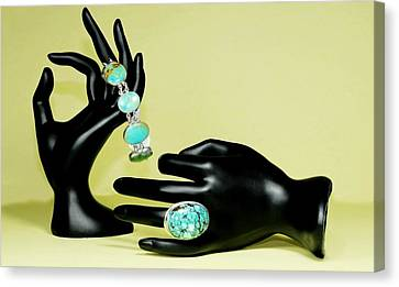 Sterling Silver Bracelet Canvas Print - Turquoise  by Diana Angstadt