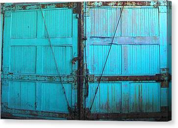 Ford Plant Canvas Print - Turquoise Doors by Edmund Akers
