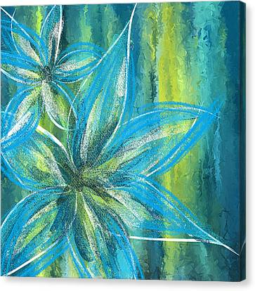 Turquoise Florals Canvas Print by Lourry Legarde