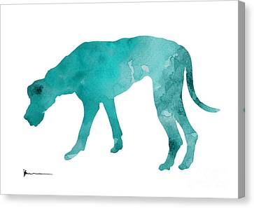 Turquoise Great Dane Watercolor Art Print Paitning Canvas Print by Joanna Szmerdt