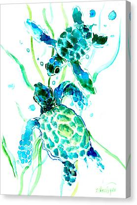 Turquoise Indigo Sea Turtles Canvas Print by Suren Nersisyan