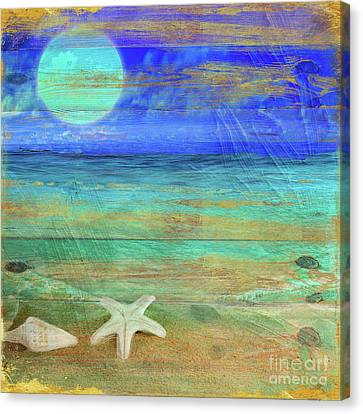 Turquoise Moon Canvas Print by Mindy Sommers