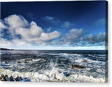 Canvas Print featuring the photograph Turquoise Pacific Ocean Sea Water Rolling Waves And Rock With Bl by Jingjits Photography