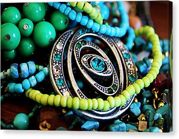Turquoise Playthings Canvas Print by Susan Vineyard