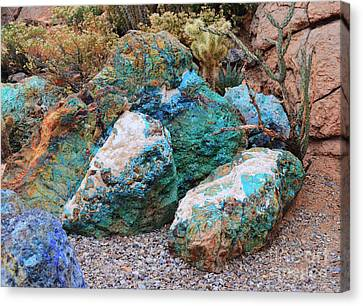 Turquoise Rocks Canvas Print by Donna Greene