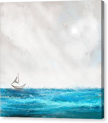 Turquoise Sailing - Moonlight Sailing Canvas Print by Lourry Legarde