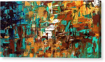 Canvas Print featuring the painting Turquoise Scent by Carmen Guedez