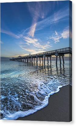 Turquoise Seas At The Pier Canvas Print by Debra and Dave Vanderlaan