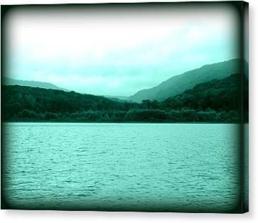 Turquoise Shades Mountain Lake Canvas Print by Lesli Sherwin