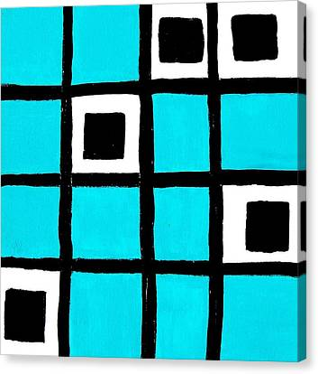 Turquoise Squares Canvas Print by Marsha Heiken