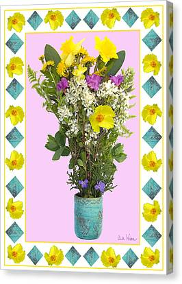 Canvas Print featuring the digital art Turquoise Vase With Spring Bouquet by Lise Winne