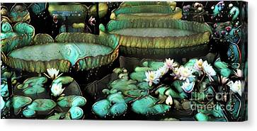 Turquoise Waterlilies 7 Canvas Print by Amy Cicconi