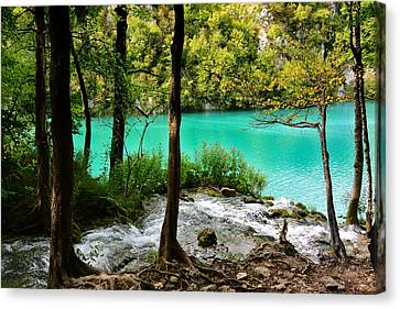 Turquoise Waters Of Milanovac Lake Canvas Print by Two Small Potatoes