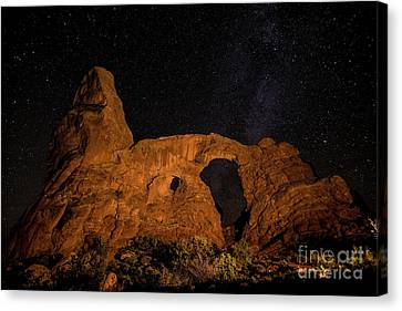 Canvas Print featuring the photograph Turret Arch And The Milky Way - Utah by Gary Whitton