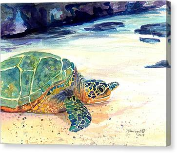 Turtle At Poipu Beach 5 Canvas Print