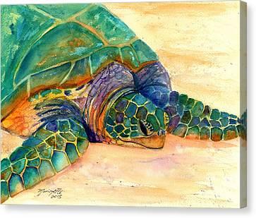 Turtle At Poipu Beach 7 Canvas Print by Marionette Taboniar