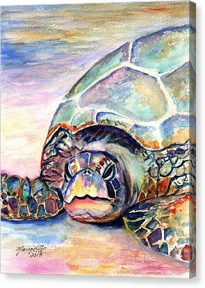 Turtle At Poipu Beach Canvas Print