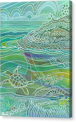 Fanciful Canvas Print - Turtle At The Copper Sweeper Reef by Amelia at Ameliaworks