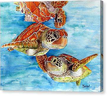 Turtle Crossing Canvas Print by Maria Barry
