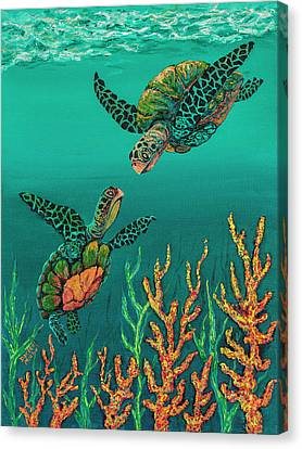 Canvas Print featuring the painting Turtle Love by Darice Machel McGuire