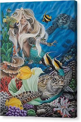 Turtle Mermaid Canvas Print