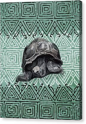 Turtle Shell Canvas Print - Turtle On Ornament by Masha Batkova