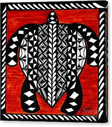 Turtle Tapa Cloth Canvas Print by Sandi Howell