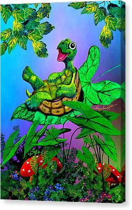Turtle Trampoline Canvas Print by Hanne Lore Koehler