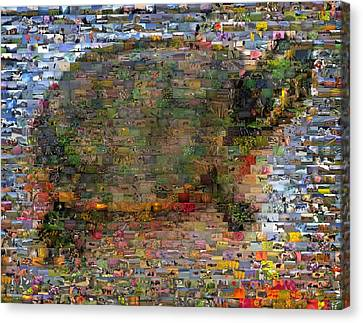 Canvas Print featuring the mixed media Turtle Wild Animals Mosaic by Paul Van Scott