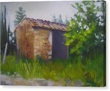 Canvas Print featuring the painting Tuscan Abandoned Farm Shed by Chris Hobel