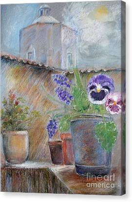 Canvas Print featuring the painting Tuscan Courtyard by Sibby S