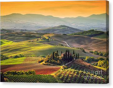 Tuscan Farm House, Vineyard, Hills Canvas Print by Michal Bednarek