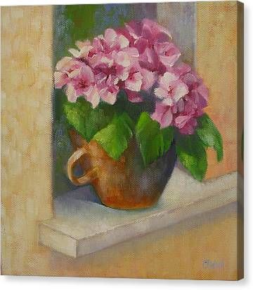 Canvas Print featuring the painting Tuscan Flower Pot Oil Painting by Chris Hobel