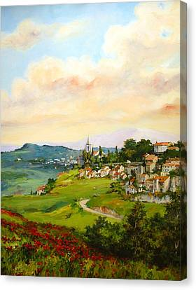Canvas Print featuring the painting Tuscan Landscape by Tigran Ghulyan