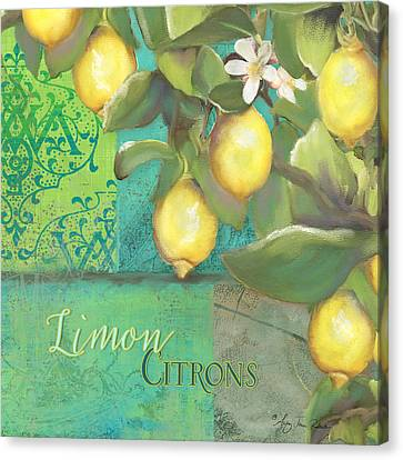 Tuscan Lemon Tree - Damask Pattern 2 Canvas Print by Audrey Jeanne Roberts