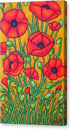 Tuscan Poppies - Crop 2 Canvas Print by Lisa  Lorenz