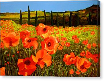 Tuscan Poppies Canvas Print by JoeRay Kelley