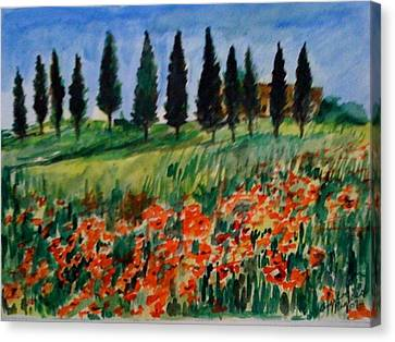 Tuscan Poppies With Poplar Trees Canvas Print by Angela Puglisi