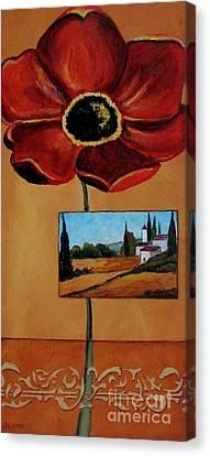 Tuscan Poppy Postcard Canvas Print by Italian Art