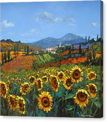 Tuscan Sunflowers Canvas Print by Chris Mc Morrow