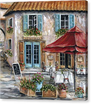 Flower Boxes Canvas Print - Tuscan Trattoria Square by Marilyn Dunlap
