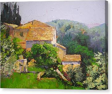 Canvas Print featuring the painting Tuscan Village by Chris Hobel