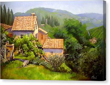 Canvas Print featuring the painting Tuscan Village Memories by Chris Hobel