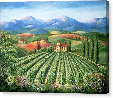 Tuscan Vineyard And Abbey Canvas Print by Marilyn Dunlap