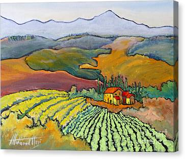 Tuscan Vineyard Canvas Print by Mohamed Hirji