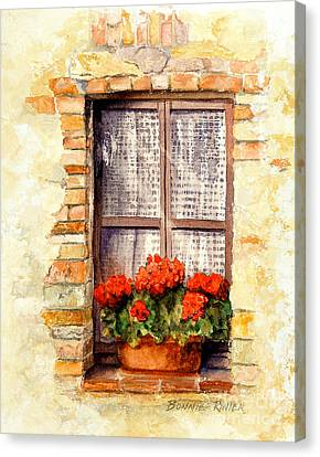 Canvas Print featuring the painting Tuscan Window by Bonnie Rinier