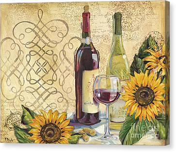 Tuscan Wine And Sunflowers Canvas Print by Paul Brent